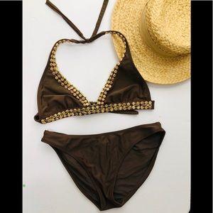 Vix wood bead embellished 2 pc bikini set